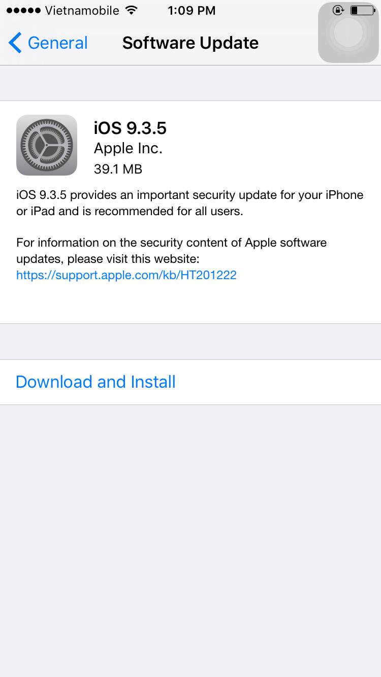 Mời tải về iOS 9 3 5 cho iPhone, iPad và iPod Touch