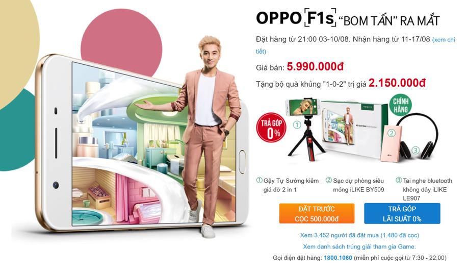 OPPO F1s nhận được 6,000 đơn đặt hàng chỉ sau 2 ngày