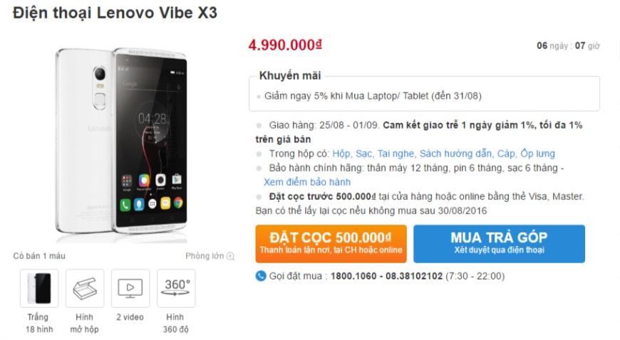Lenovo Vibe X3 giảm giá khủng cạnh tranh Oppo F1s và Xperia XA