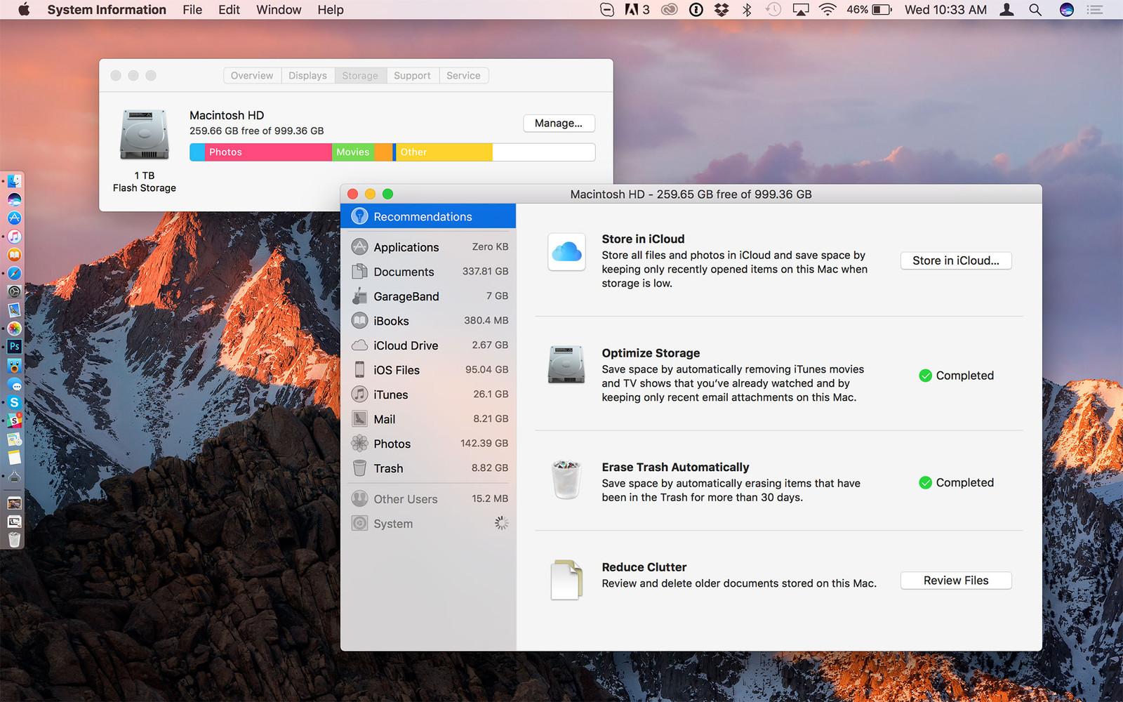 Tối ưu hoá dung lượng ổ cứng trên macOS Sierra