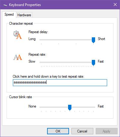 Hướng dẫn thay đổi độ nhạy và độ trễ lập lại của bàn phím trên Windows 10