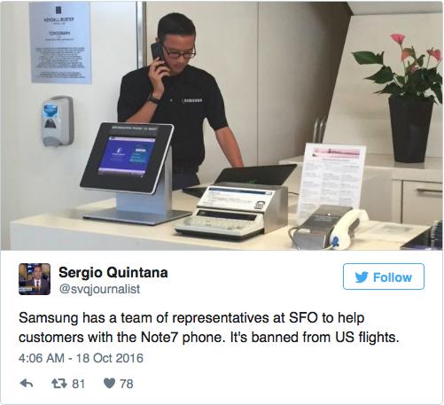 Samsung mở quầy thu hồi Note 7 tại các sân bay trên thế giới