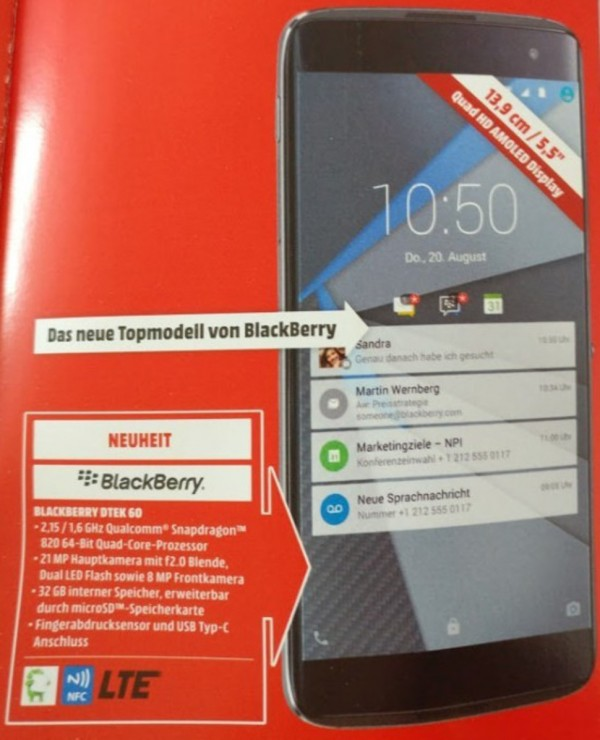 BlackBerry DTEK60 sẵn sàng ra mắt ngày 25/10