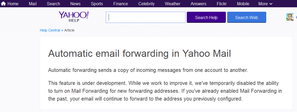 yahoo forward email help