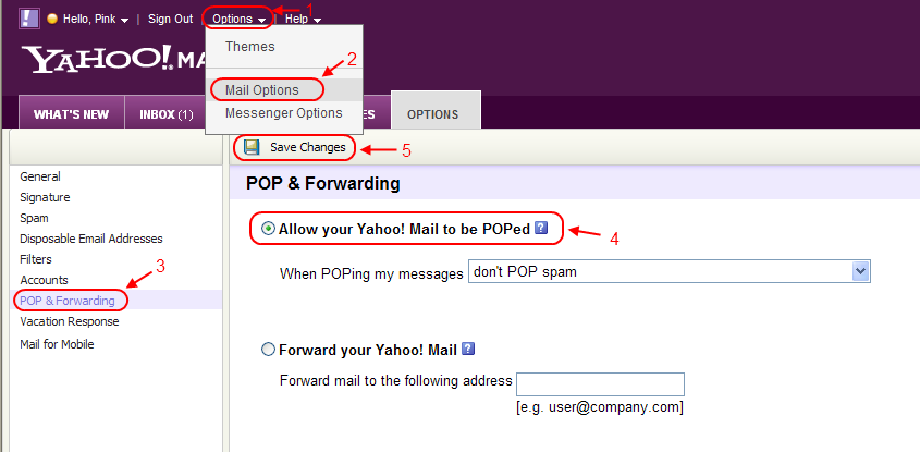 yahoo forward email