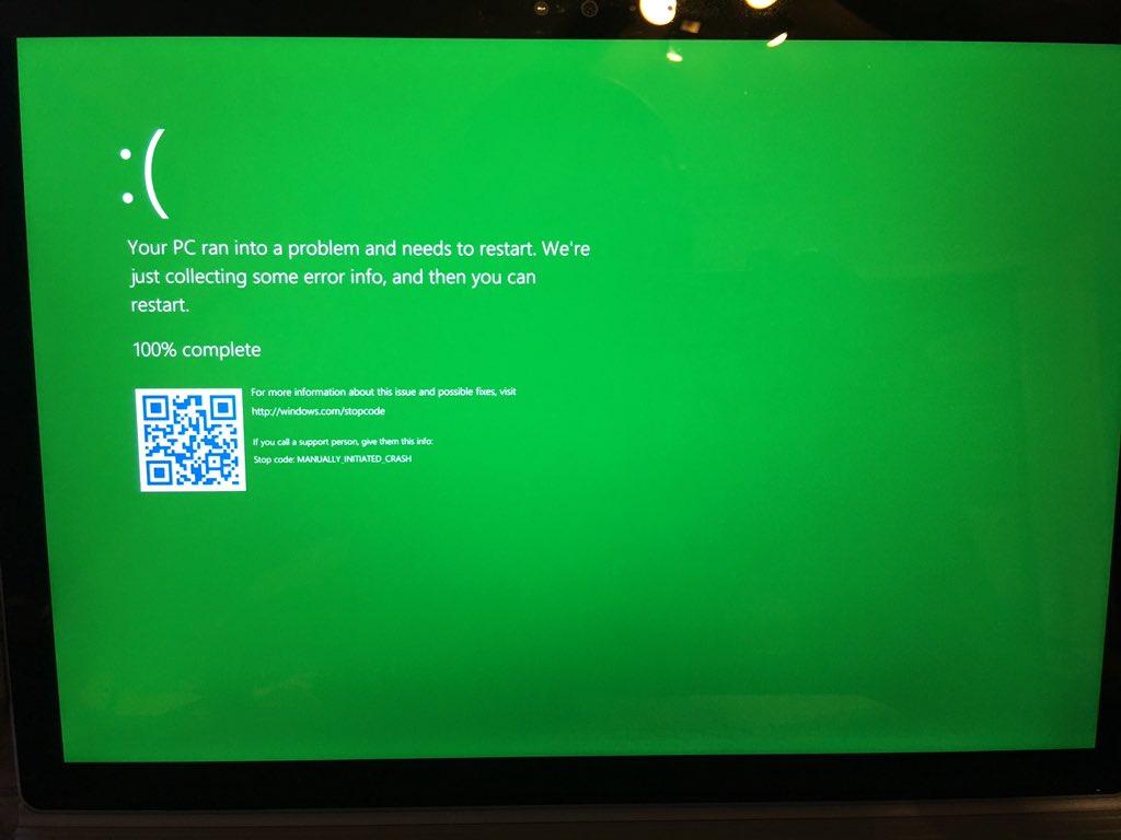 Bản thử nghiệm Windows 10 (build 14997) xuất hiện màn hình xanh lá cây chết chóc