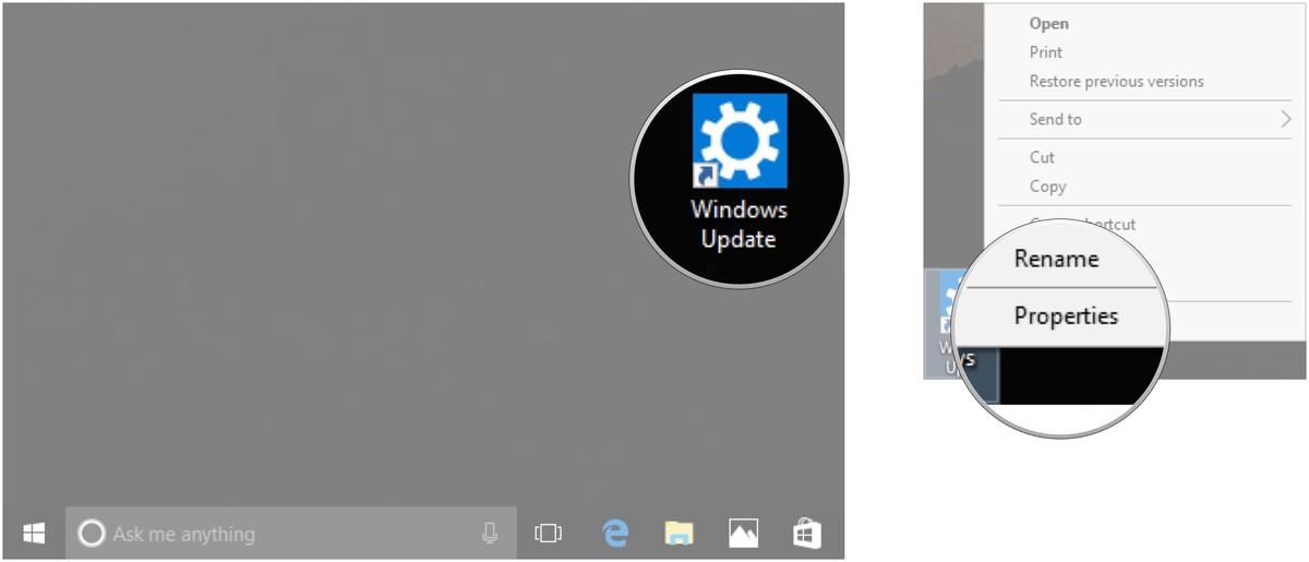 Tạo lối tắt để tiến hành cập nhật cho Windows 10