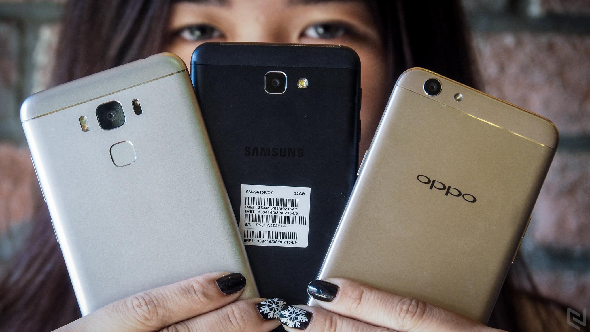 """So sánh hiệu năng ZenFone 3 Max 5.5"""" - Galaxy J7 Prime - OPPO F1s"""
