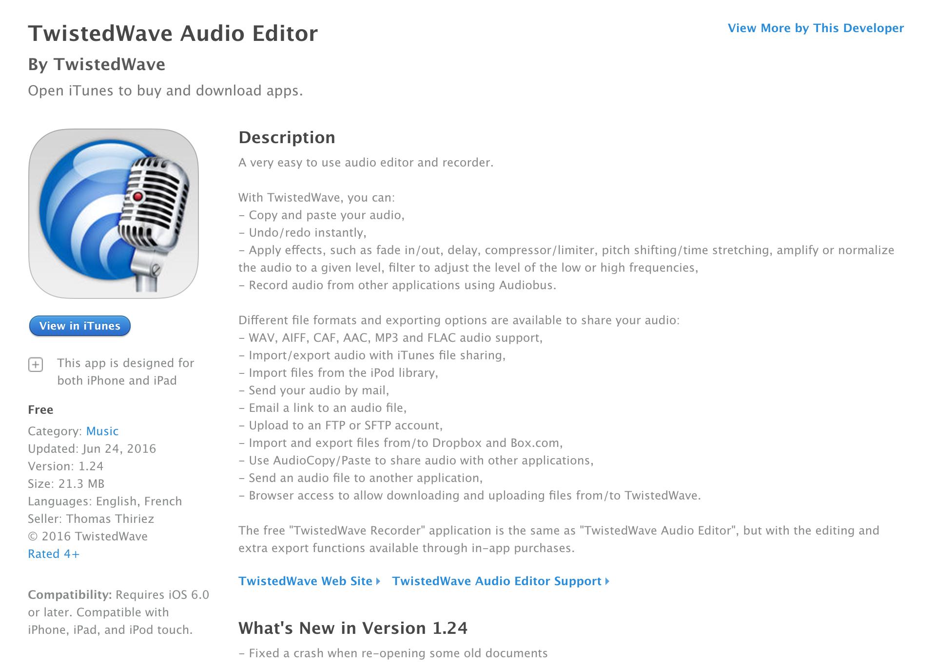 Ứng dụng TwistedWave Audio Editor miễn phí trên App Store