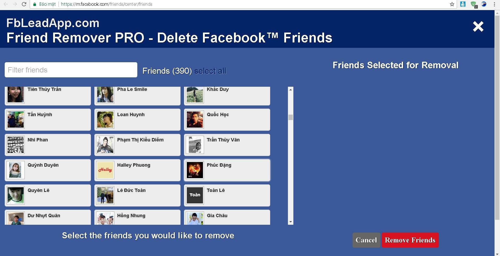 Hủy kết bạn hàng loạt với Friend Remover Pro trên Facebook