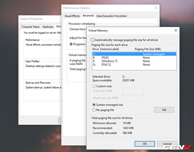"""Ở hộp thoại mới xuất hiện, hãy bỏ đánh dấu kiểm ở lựa chọn """"Automatically manage paging file size for all drivers"""". Sau đó nhấp vào phân vùng """"C"""" nằm trong danh sách và đánh dấu vào lựa chọn """"Custom size""""."""