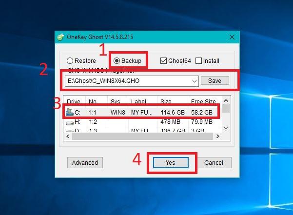 Hướng dẫn ghost Windows bằng phần mềm Onekey ghost
