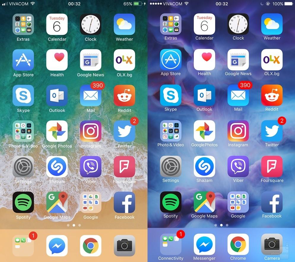 Bạn có thể nhận thấy cột sóng tín hiệu mới ở trên cùng bên trái cũng như việc thiếu vắng tên thư mục trong dock. Biểu tượng trạng thái pin trên iOS 11 cũng được làm sáng lên một chút. Phông chữ dường như đậm hơn, dễ đọc hơn vì đối lập với hình nền khá sáng.