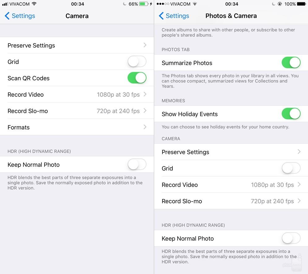 Camera trong iOS 11 có tính năng quét mã QR mới cũng như menu cho phép chọn lựa giữa các định dạng HEIF/HEVC và JPEG/H.264.