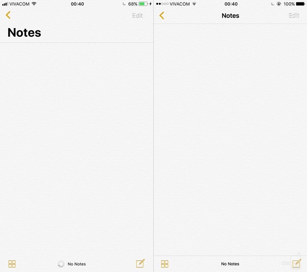 Ứng dụng ghi chú Notes thay đổi một chút ở phông chữ và vị trí.