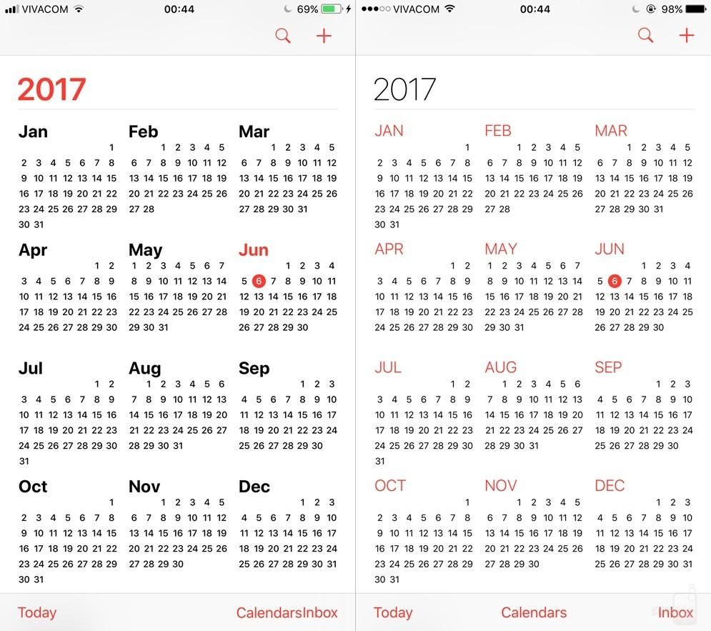 Cũng như vậy, ứng dụng lịch được biến đổi theo chiều hướng to hơn, đậm hơn. Các tháng trong năm dùng chữ màu đen, trong khi tháng hiện tại dùng chữ đỏ để nổi bật.