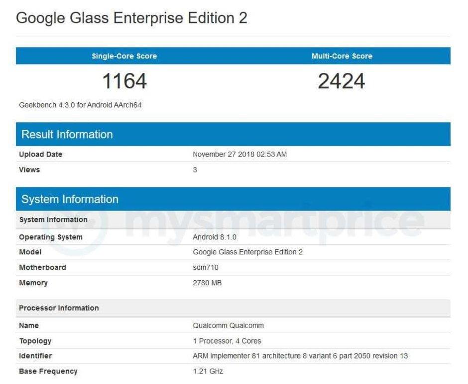 Xuất hiện Google Glass mới sử dụng Snapdragon 710 chạy Android 8.1 Oreo