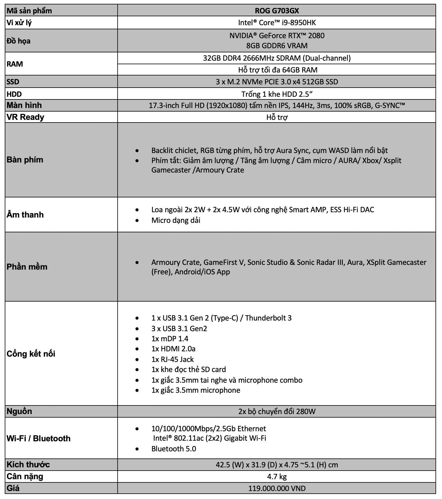 Cận cảnh ROG G703GX: CPU core i9, GPU RTX 2080, giá 120 triệu đồng