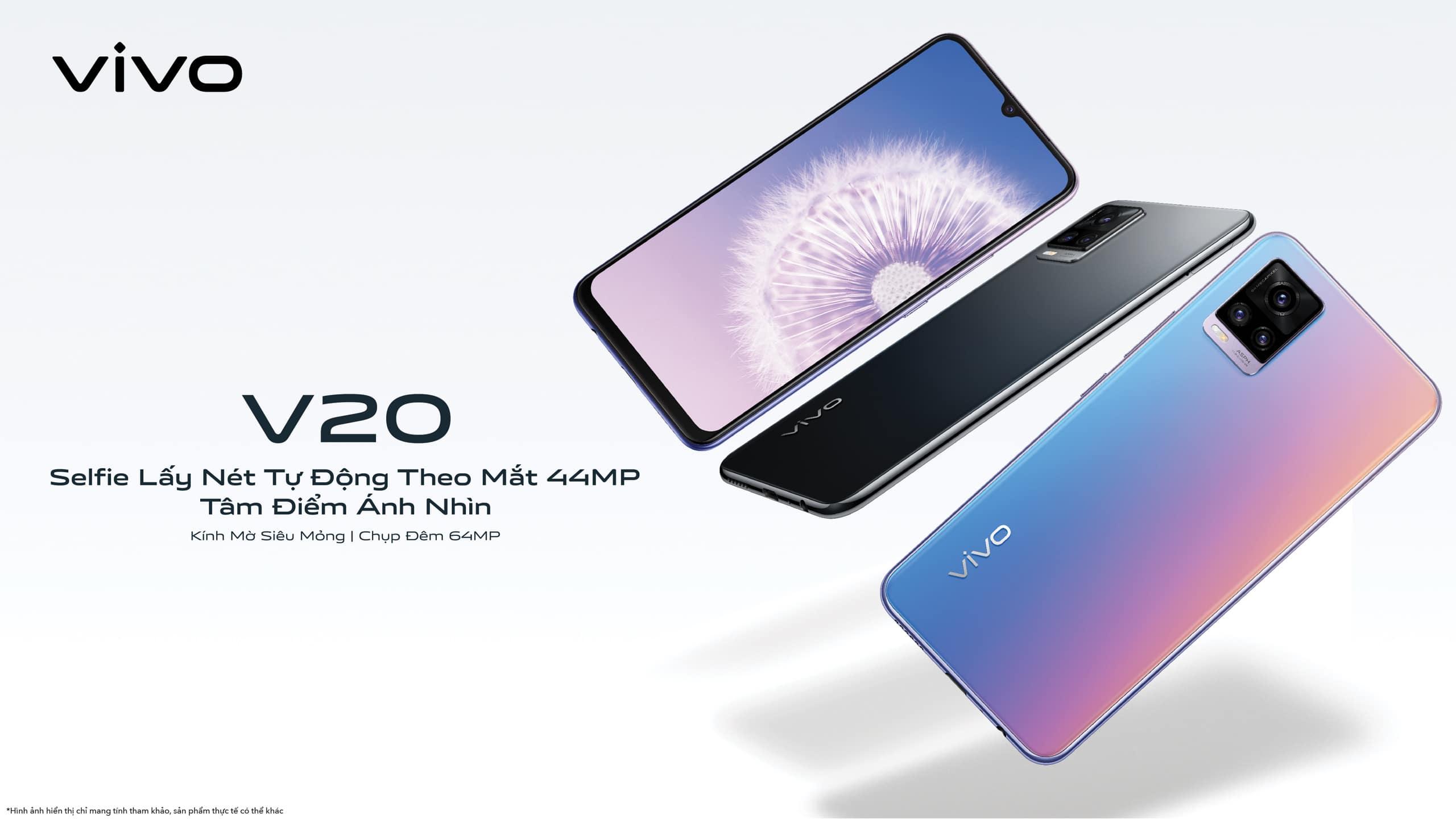 """Vivo V20 chính thức ra mắt tại Việt Nam - """"Selfie Lấy Nét Tự Động Theo Mắt 44MP, Thiết Kế Kính Mờ Siêu Mỏng"""""""